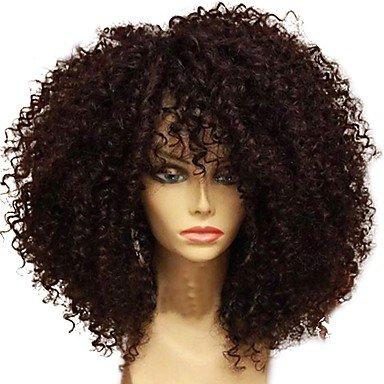 ze brasilianische Echthaar Perücke leimlosen Spitze vorne 130 % Dichte mit Baby Haare Jerry Curl Afro Kinky Cur Ly-Perücke schwarz (Jerry Curl Perücke)