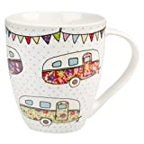 The Caravan Trail Churchill China Festival - Taza de porcelana, diseño de caravana, multicolor
