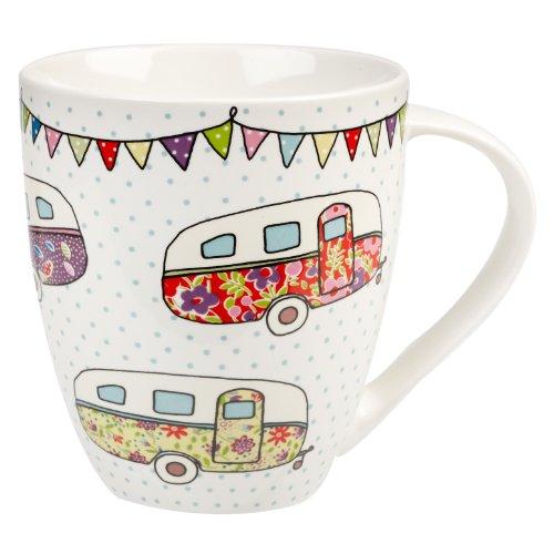 The Caravan Trail Becher/ Tasse aus feinem Porzellan, Motiv Festiliche Wohnwagen, Mehrfarbig
