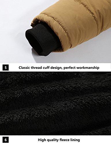 Menschwear Herren Winter Warme Jacke Daunenjacke Mantel Kurzmantel mit abnehmbarer Kapuze-Pelzkragenze Khaki 6692