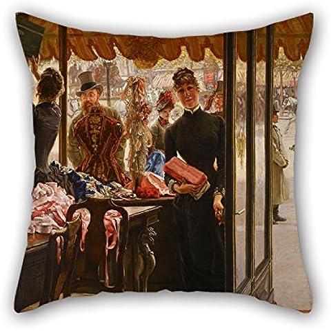 loveloveu 18x 18pulgadas/45por 45cm), pintura al óleo de James Tissot–la demoiselle de Magasin fundas de almohada, dos lados es apta para Bar, niños niñas, sofá, diván, asiento de coche para niños