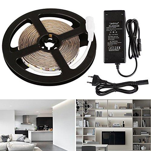 LEDMO Tira LED,Tiras LED Blanco 6000K 12V SMD2835 300leds IP20 No impermeable 15Lm/led tira led de alta luminosidad 5 metros CRI80 tira LED y transformador 12V 5A