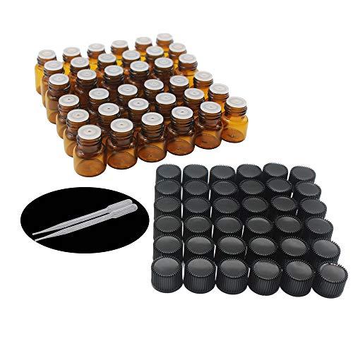 One Trillion Ambar Botellas de Aceite esencial de Vidrio Vacías 1ml,con Reductor de Orificio y Tapa,Para Aceites Esenciales, E-Líquidos,Aromaterapia,Perfumes,Masajes,Laboratorio de Química - 36 Pcs
