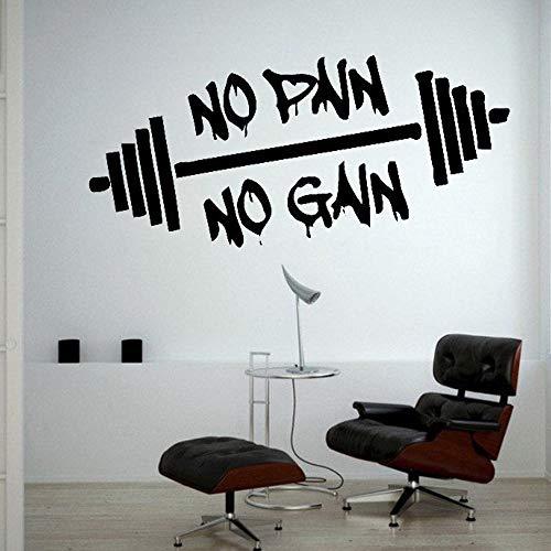 Keine Schmerzen Kein Gewinn Heben Gewichte Training Gym Wandtattoo Bodybuilding Sportunterricht Wand Vinyl Aufkleber Schlafzimmer Dekor 57X26CM