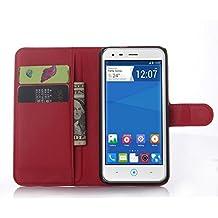 Funda Libro para ZTE Blade S6, Ycloud Suave PU Leather Cuero Con Flip Cover, Cierre Magnético, Función de Soporte,Billetera Case con Tapa para Tarjetas + 1x Lápiz óptico (Rojo)