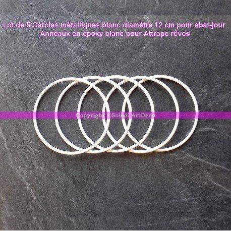 Lot de 5 Cercles métalliques blanc diamètre 12 cm pour abat-jour, Anneaux epoxy Attrape rêves