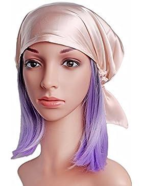 Emmet Sleep Cap Mütze Seide mit Elastikband Soft Breathable(Haut rosa)