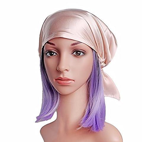 Emmet Sleep Cap Mütze Seide mit Elastikband Soft Breathable(Haut rosa) (Beanie Halb Helm)