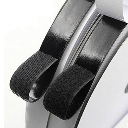ToBeIT 5 Meter Doppelseitig Klettband Selbstklebend,Klettverschluss 20mm breit,extra stark Haftkraft selbstklebend Flauschband Hakenband schwarz/weiß (schwarz) Test