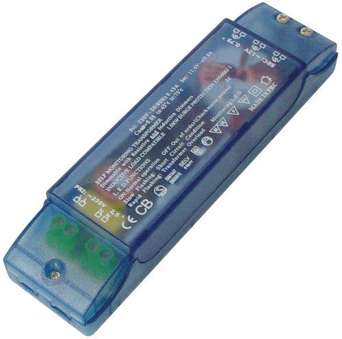 Trasformatore per lampadine Alogene, potenza 20-105 Watt, In: 230 VAC/50