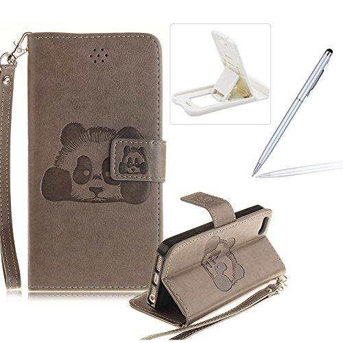 Für iPhone 5 5S SE 4Zoll Wallet Tasche Brieftasche Schutzhülle,Herzzer Stilvoll Jahrgang [Lovely Panda Prägung] Schutzhülle Wallet Case Design Lederhülle Zubehör im Bookstyle Cover Schale mit Ständer  Grau