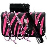 Awans - Juego de tijera, tijera de entresacar y accesorios de peluquería, diseño de cebra, color rosa