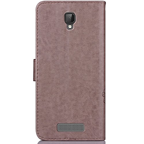 EKINHUI Case Cover Double Magnetic Back Sucktion Retro Style PU Leder Flip Stand Case mit Kickstand und Wallet Beutel Funktion für ZTE L5 Plus ( Color : Purple ) Gray