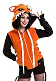 Cupcake Cult Damen Kapuzenjacke mit Ohren - Foxy Hoodie Fleecejacke Orange (XL)