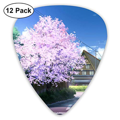 Landscape Pink Cherry Blossom Tree 351 Shape Classic Celluloid Guitar Pick For Electric Acoustic Mandolin Bass (12 Count) Basso Blossom