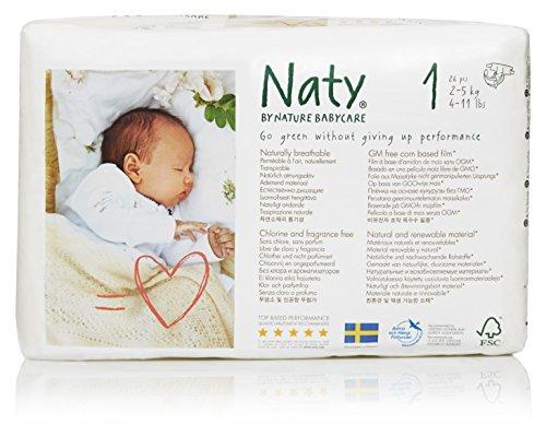 Naty by Nature Babycare Ökowindeln - Größe 1 Newborn, 2-5 kg, 2er Pack (2 x 26 Stück)
