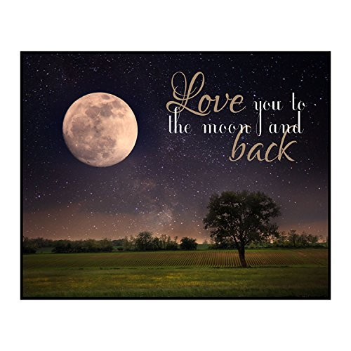 Love You To The Moon And Back Crop Bereich 12x 15Overlay Schild aus Holz Art Wand