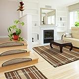 Floori Sisal Premium Teppich, div. Größen wählbar, braun/beige | auch als Set mit Stufenmatten