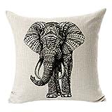 Hangood Housse de coussin Linge de coton Accueil Décoratifs éléphant 45cm x 45cm