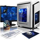 """VIBOX Killstreak GS450T-127 PC Pacchetto Gamer PC - 4,0GHz AMD 4-Core CPU, GTX 1050 GPU, Avanzato, Desktop Gaming PC con buono Gioco, 22"""" HD Monitor, Gaming Tastiera e Mouse, Illuminazione al Azul interna, Garanzia a vita* (3,8GHz (4,0GHz Turbo) AMD FX 4300 Quad 4-Core CPU Processore, Nvidia Geforce GTX 1050 2GB Scheda Grafica GPU, 8GB Memoria DDR3 1600MHz RAM ad alta velocità, 1TB (1000GB) Sata III 7200rpm Hard-Disk, PSU 85+, F3 Caso Bianca, Scheda madre AM3+, Senza Sistema Operativo)"""
