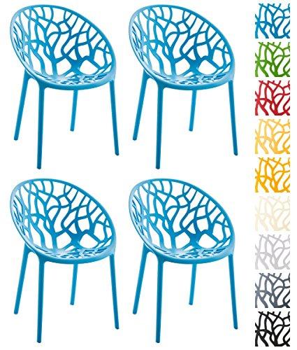 CLP 4er-Set Design-Gartenstuhl Hope aus Kunststoff I 4X Wetterbeständiger Stapelstuhl mit Einer maximalen Belastbarkeit von 150 kg I erhältlich Blau