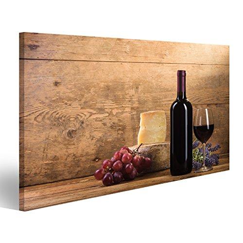 Käse Bild (Bild Bilder auf Leinwand Rotwein im Weinleselicht mit Käse und Früchten. Verschiedene Formate ! Direkt vom Hersteller ! Bilder ! Wandbild Poster Leinwandbilder ! HKO)