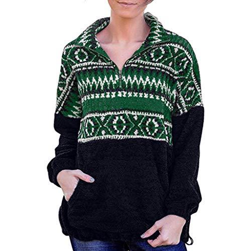 Vectry Weihnachtsbluse Christmas Jumper Weihnachts Pullover Ugly Sweater Lustige Sweatshirts Hässliche Pullover, Damen Zipper Norwegen Pullover Tops Langarmshirts Mädchen Casual Lose Blusen Outwear