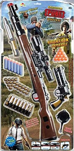 Sajani Original PubG Theme Gun Toys Set with Assault Rifle, Toy Knife, Water and Soft Foam Bullets and Combat Cards Target Shooting Role Play Game for Kids