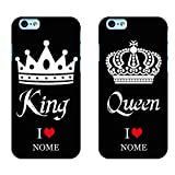 Ku Coppia Cover King Queen Love per iPhone in TPU Morbida Nera Idea Regalo FIDANZATI San Valentino...