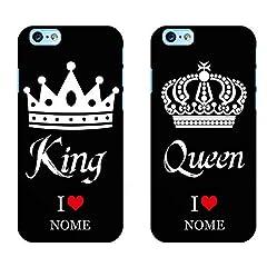 Idea Regalo - Ku Coppia Cover King Queen Love per iPhone in TPU Morbida Nera Idea Regalo FIDANZATI San Valentino Festa (King iPhone 7/8, Queen iPhone 6 6S Plus)