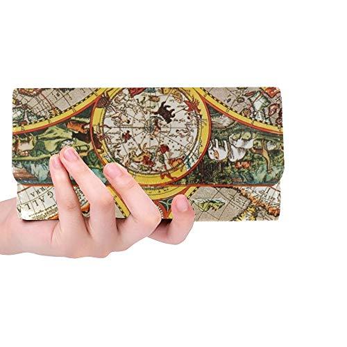 JOCHUAN Einzigartiges kundenspezifisches Weltkarten-Makro des antiken 17. Jahrhunderts Stockfoto Frauen-dreifachgefaltete Mappe langer Geldbeutel-Kreditkarteninhaber-Fall Handtasche -
