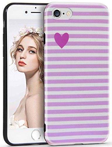 Imikoko iPhone 6 6S Hülle, iPhone 6 6S Herz Streifen R&umschutz Handy Hülle Schutzhülle Weich Silikon TPU Case Super Sweet Cute für Girl Frauen Mädchen
