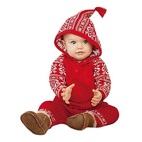 neeoverall Hirolan Babykleidung Baby Strampler Neugeborene Mädchen Junge Kapuzenpullover Drucken Strampler Lange Ärmel Overall Pyjama Rot Outfits (70, Rot) (Pyjama-party Dekorationen)
