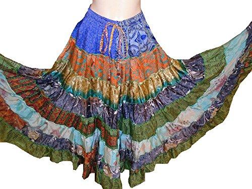 9 Yard Tribal Gypsy Maxi Tiered Rock Bauchtanz Röcke Silk Blend Banjara Passend für S M L (663) (Zigeuner Kostüme Uk)