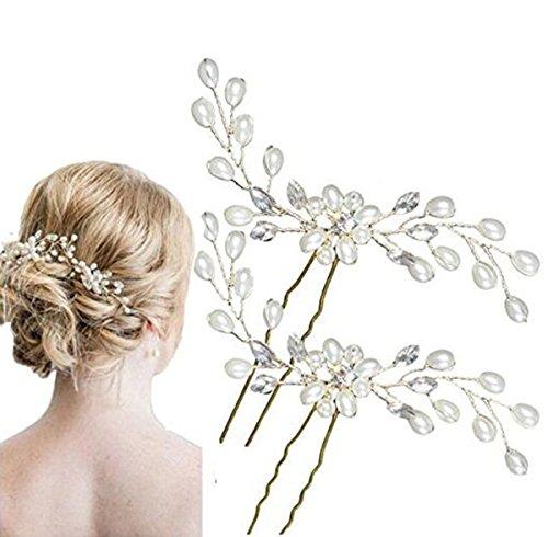 2pcs Damen Perlenrhinestone Haarclip/ Hochzeit Brautschmuck/ Braut Haar Zubehör Kopfstück / Hochzeit Zubehör Blume-haar-kamm-hochzeit