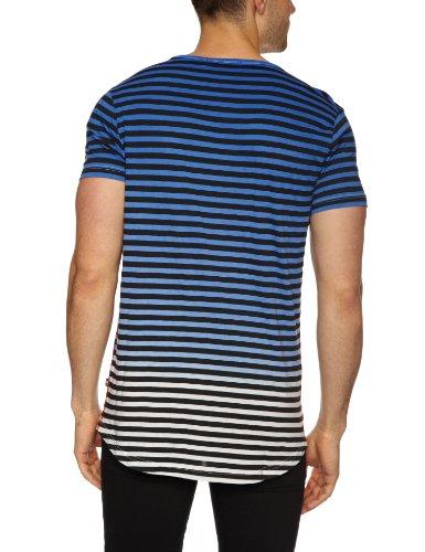 Gio-Goi Herren Gemustert T-Shirt Blau - Dip Die Stripe