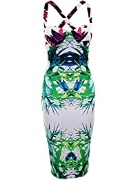 LES FEMMES imprimé floral MINCEUR EFFET ILLUSION rembourré BUSTE BRA BODYCON robe WOMEN FLORAL PRINT SLIMMING EFFECT ILLUSION PADDED BUST BRA BODYCON DRESS