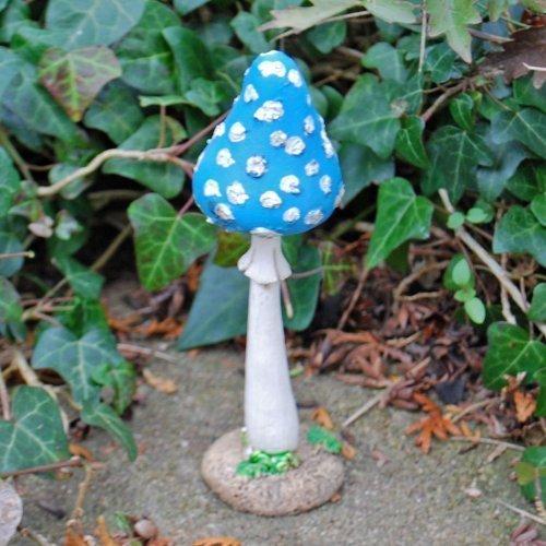 Blauer Fliegenpilz Garden Deko aus Kunstharz 12cm