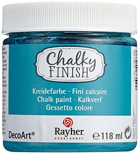 (Rayher 38867390 Chalky Finish auf Wasser-Basis, Kreide-Farbe für Shabby-Chic-, Vintage- und Landhaus-Stil-Looks, 118 ml, lagune)