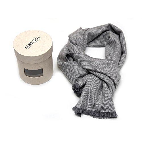 100% Kaschmir Schal Herren, Luxus mongolischen Kaschmir (26/2 Garn) Schal, Cashmere Winter Schal, Grau Luxus Kaschmir Schal