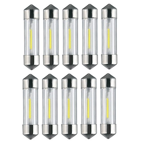 Raysen 10 x 36mm 1W LED Soffitte COB SMD weiß Auto KFZ 12V Innenraumbeleuchtung (Weiße Led-soffitte)