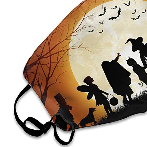 cvbnch Staubmaske Außenmaske Happy Halloween Witch Moon Pumkin Bats Printed Mouth Masks Unisex Anti-dust Masks Reusable Face Mask Soft and Breathable for Men Women Fashion Anime Black Nose Disposable
