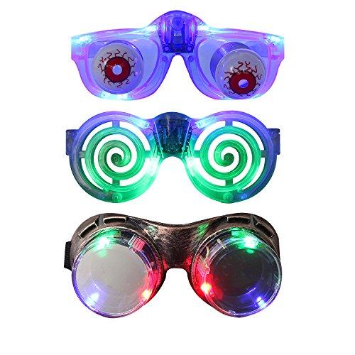 Kostüm Rot Glühende Augen (LED Brille, DAXIN Blinkende Brillen mit Steampunk Brille, Witz Eye Brille, Glühende Party Brille für Raves, Party, Geburtstag, Weihnachten, Clubbing, Disco (Packung von)