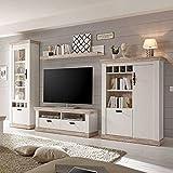 Pharao24 TV Anbauwand in Kiefer Weiß skandinavischen Landhausstil LED Beleuchtung Energieeffizienzklasse LED