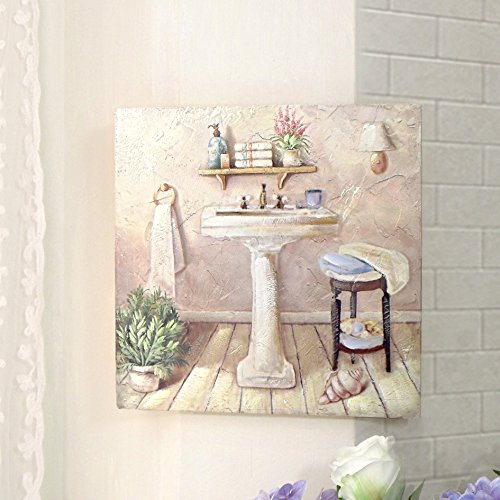 Quadro Canvas Bagno Shabby Chic Bain Collection Quarta Variante 38 x 38