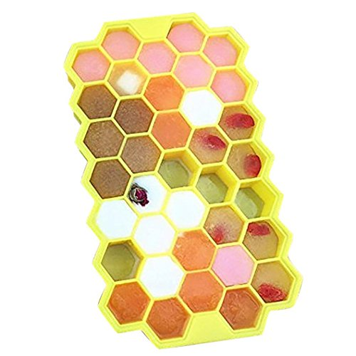 89e22ee16 LtrottedJ Honeycomb Shape Ice Cube 37 Cubes Ice Tray Ice Cube Mold Storage  Containers (Yellow