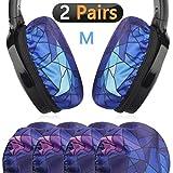 Fundas de tela elástica para auriculares/protectores sanitarios lavables para los oídos, se adapta a almohadillas de 8 cm – 11 cm para los oídos/bueno para gimnasio, deportes (diamante 2 pares)