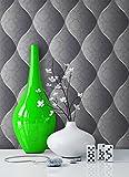 Tapete Edel Vinyl Anthrazit | schönes Floral Design und purer Luxus Effekt | moderne 3D Optik für Wohnzimmer,Schlafzimmer,Flur oder Küche inkl. NewroomTapezier-Profibroschüre mit super Tipps!