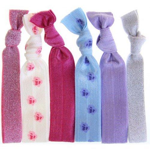 Twistband DITZY set 6 élastiques argent, lavande, motif fleur bleu, framboise, motif fleur rose, rose métal