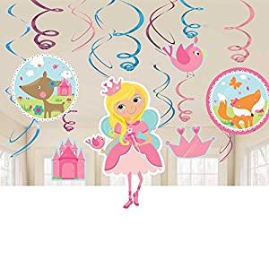 Amscan 671623 Woodland Princess Decoraciones de remolino de Value Pack
